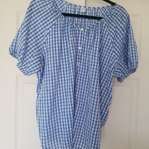 Old Navy Blue Gingham Button up blouse XXL